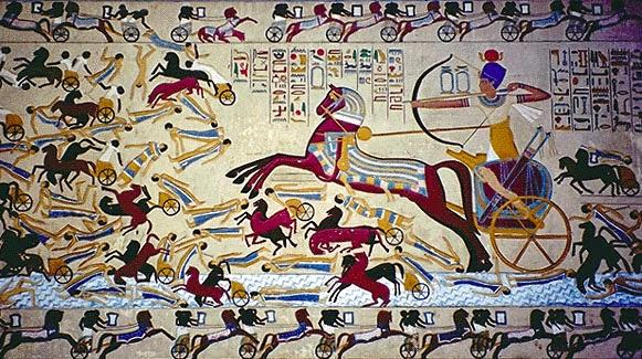لوحة تمثل أحمس الأول يقاتل الهكسوس في معركة